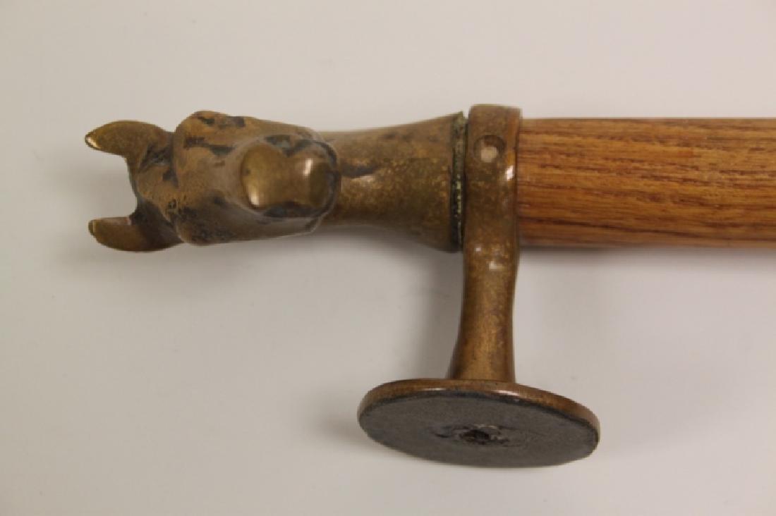 Pair Door Pulls / Handles w Cast Brass Horse Heads - 3