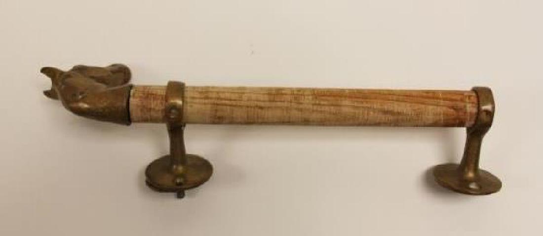 Pair Door Pulls / Handles w Cast Brass Horse Heads - 5