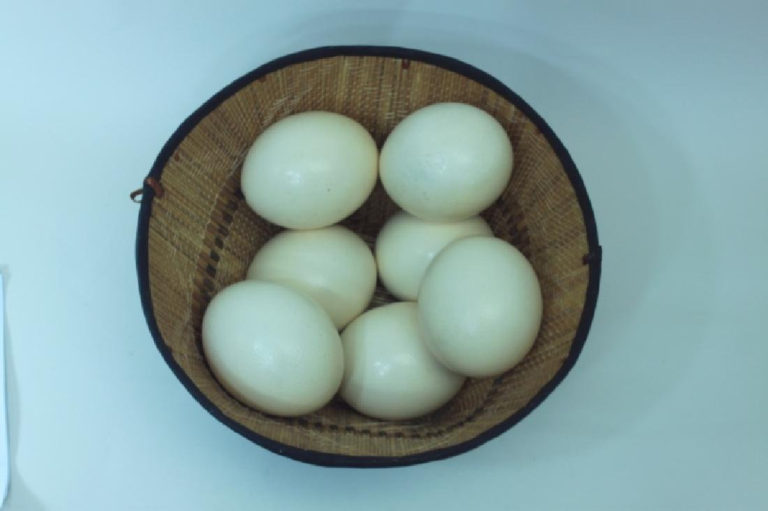 African Leather & Reed Basket w 7 Ostrich Eggs - 2
