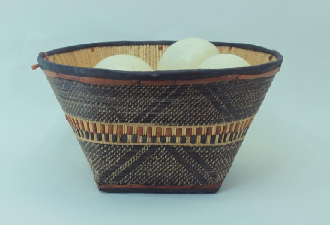 African Leather & Reed Basket w 7 Ostrich Eggs - 3