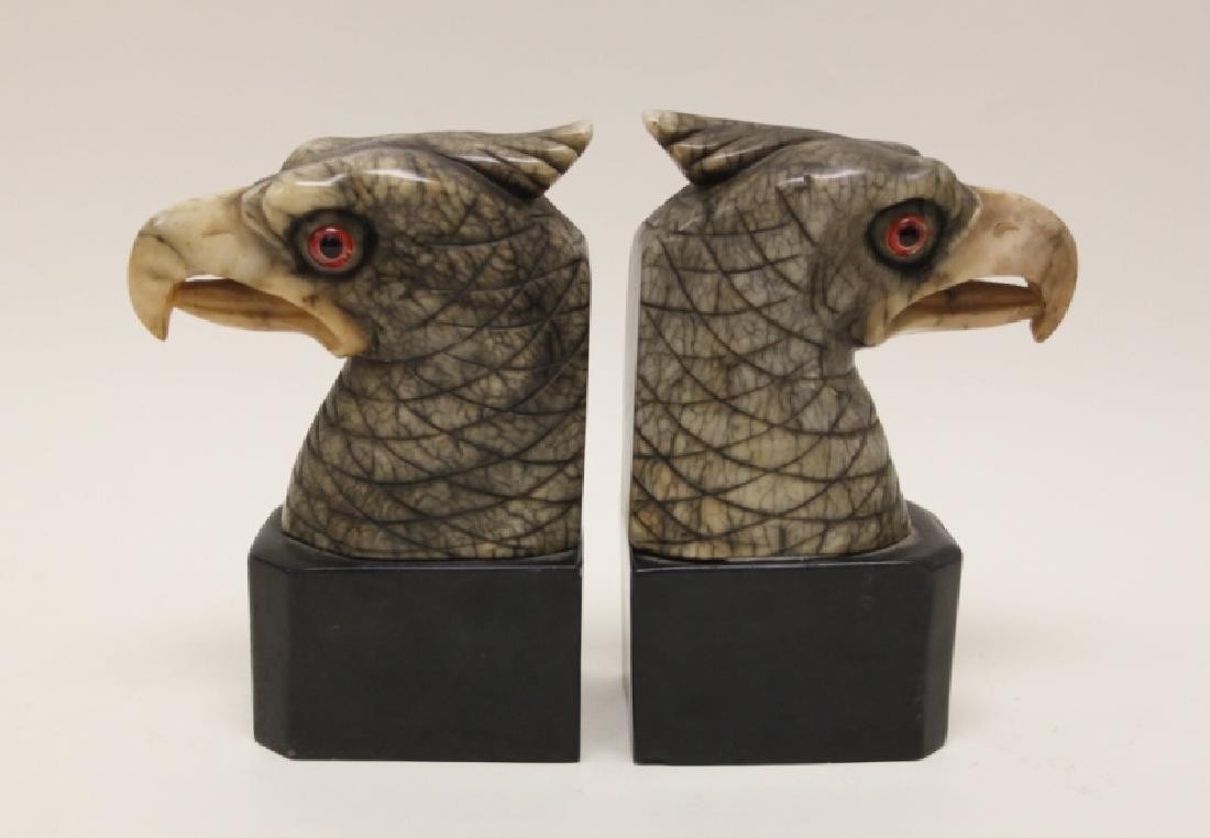 Pair Art Deco Alabaster Eagle Book Ends Glass Eyes