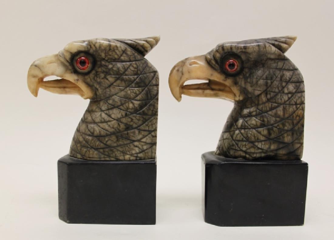 Pair Art Deco Alabaster Eagle Book Ends Glass Eyes - 8