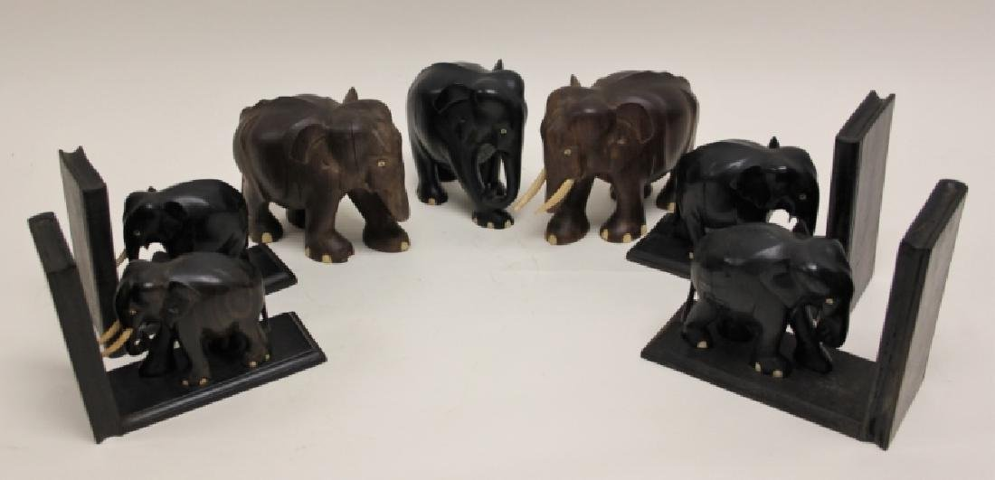(7) Carved Wood Elephants Incl. 2 Pr Bookends