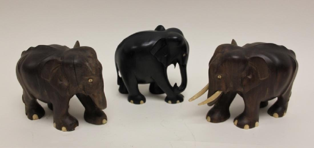 (7) Carved Wood Elephants Incl. 2 Pr Bookends - 2