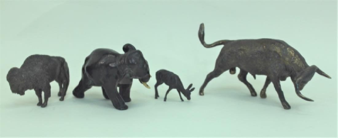 (4) Bronze Metal Animals: Bison Deer Elephant Bull