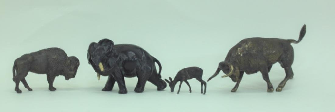 (4) Bronze Metal Animals: Bison Deer Elephant Bull - 2
