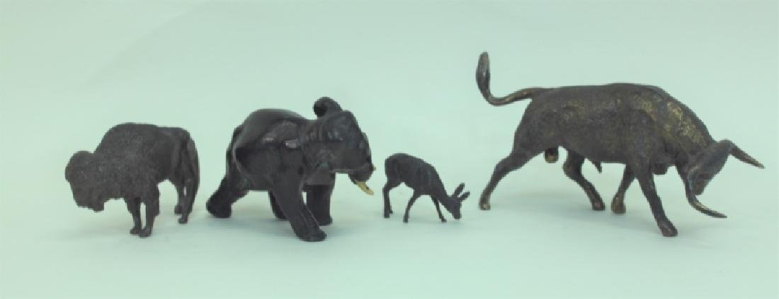 (4) Bronze Metal Animals: Bison Deer Elephant Bull - 3