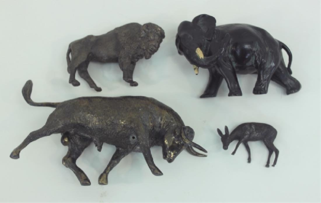 (4) Bronze Metal Animals: Bison Deer Elephant Bull - 5