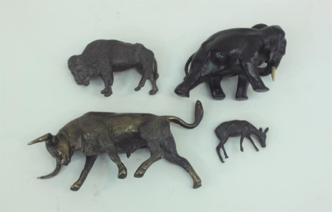 (4) Bronze Metal Animals: Bison Deer Elephant Bull - 6