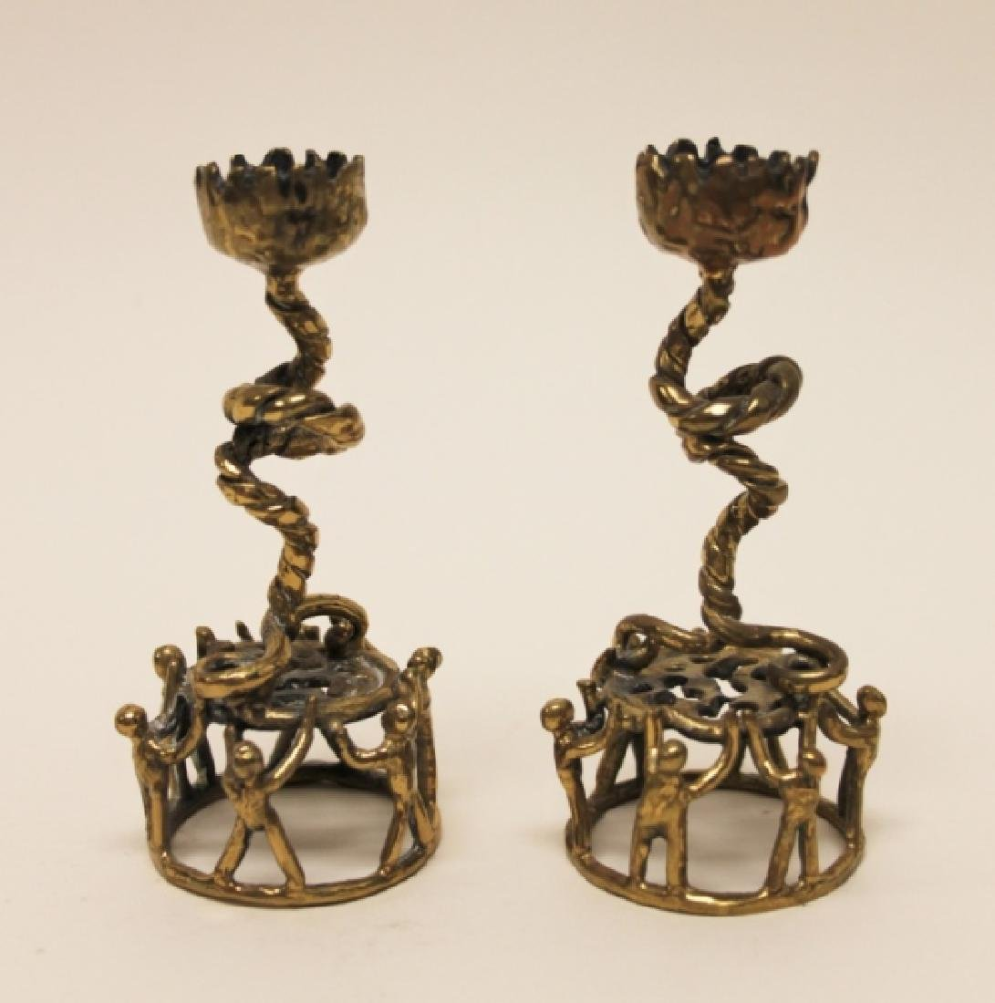 Pair MCM Brutalist Brass Candlestick Holders