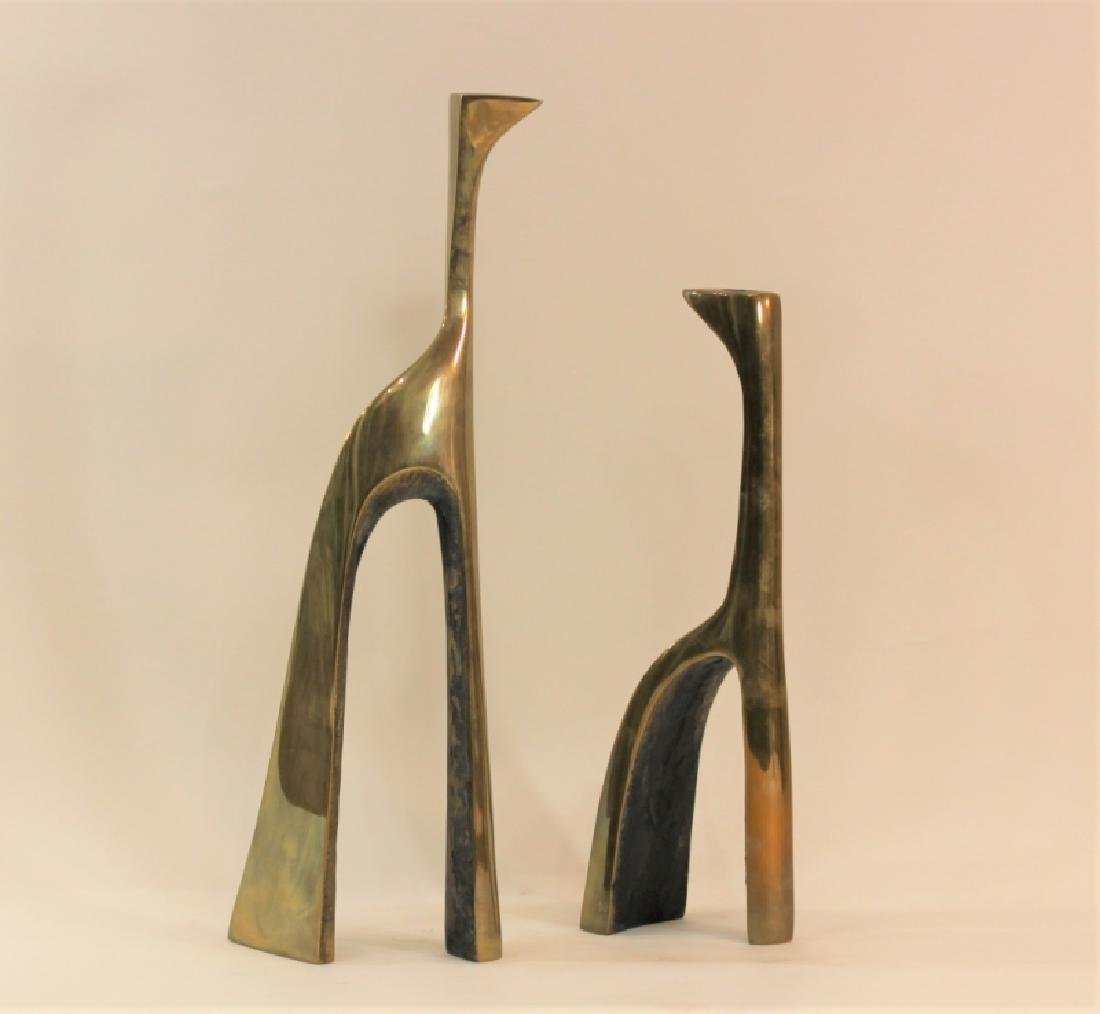Pair Large Cubist Dali Brass Candle Holders