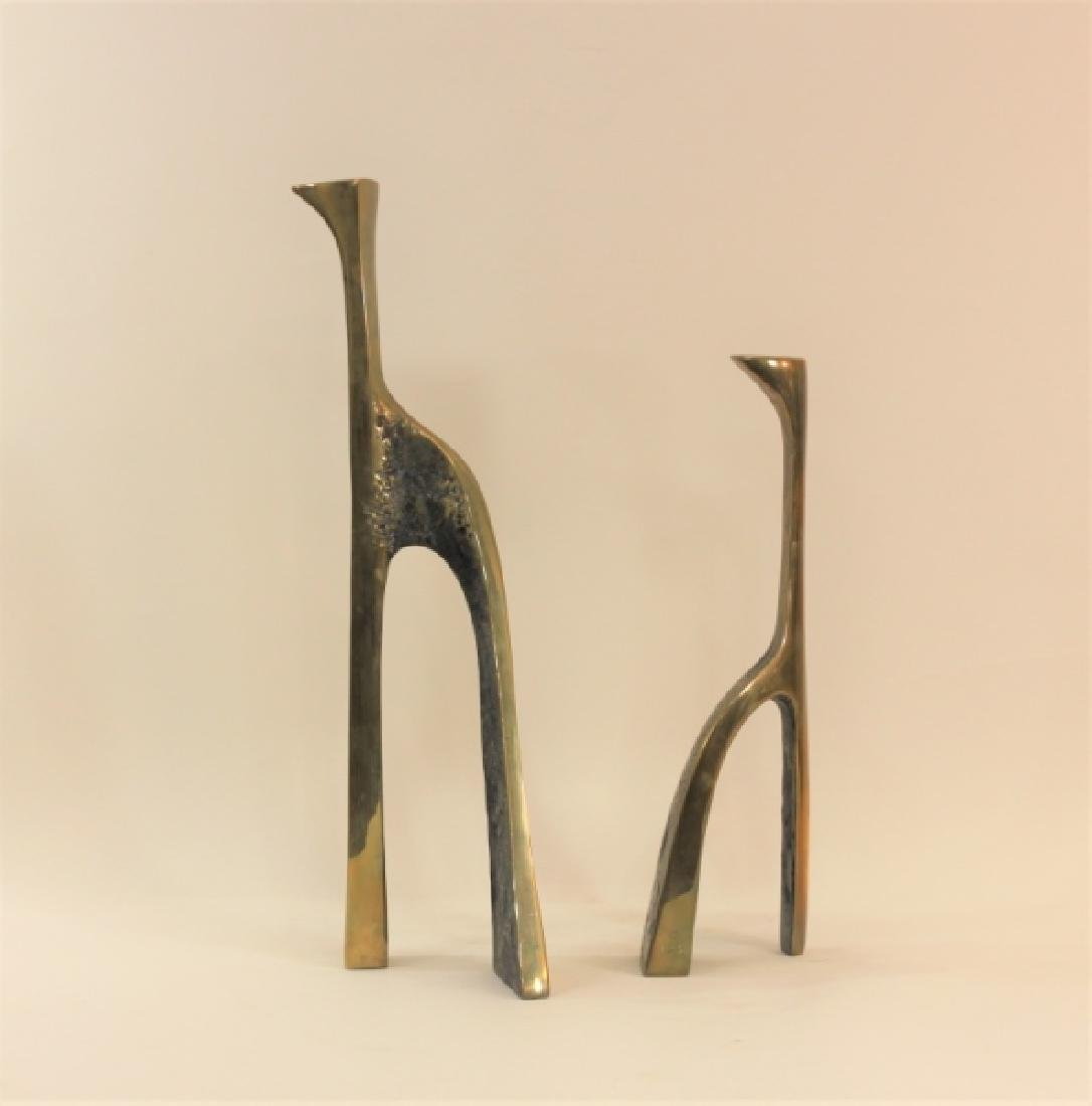 Pair Large Cubist Dali Brass Candle Holders - 2