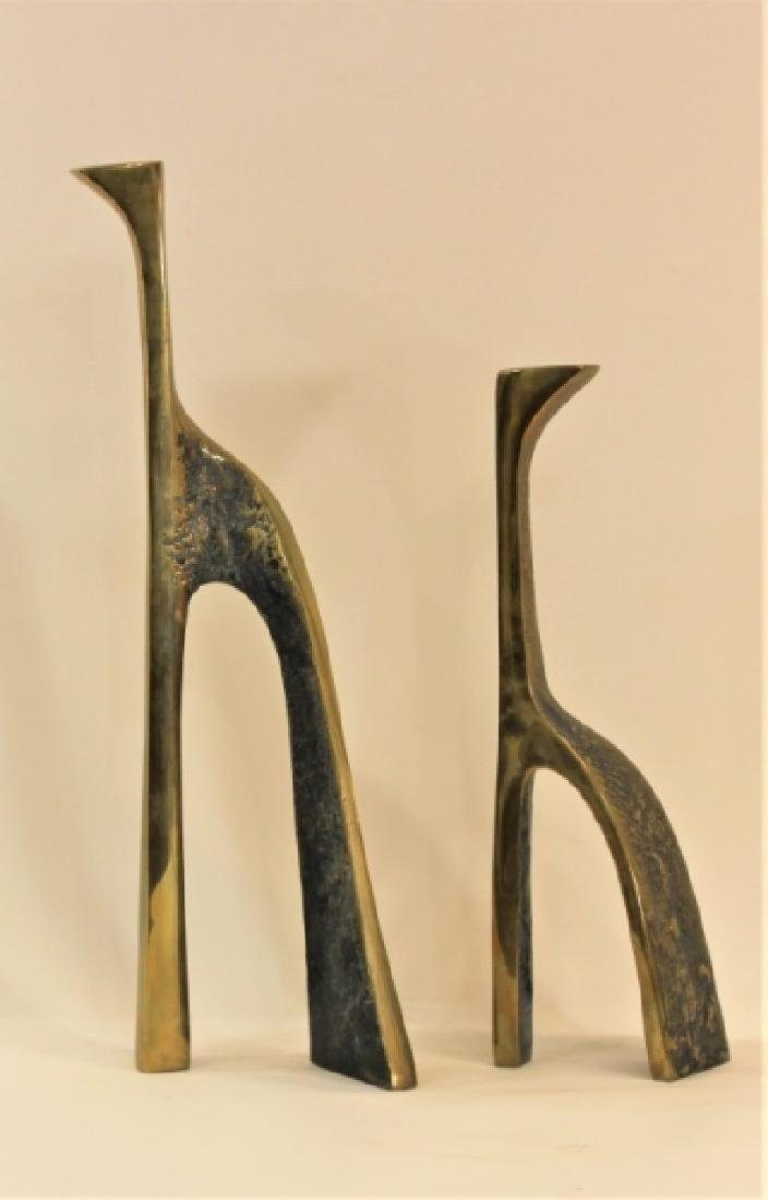 Pair Large Cubist Dali Brass Candle Holders - 3