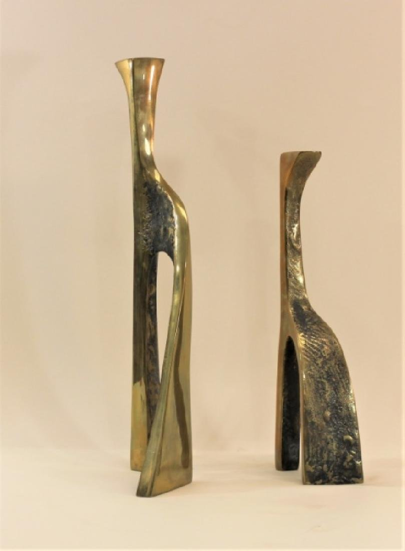 Pair Large Cubist Dali Brass Candle Holders - 4