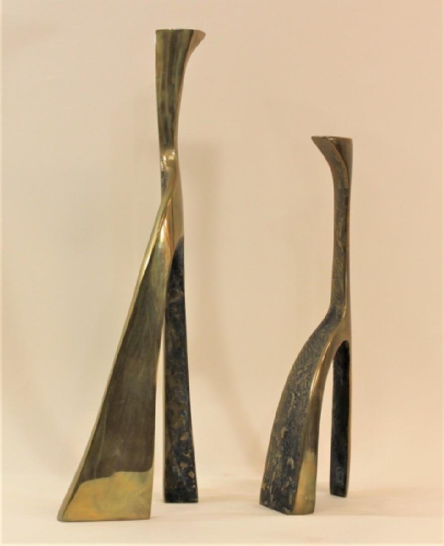 Pair Large Cubist Dali Brass Candle Holders - 5