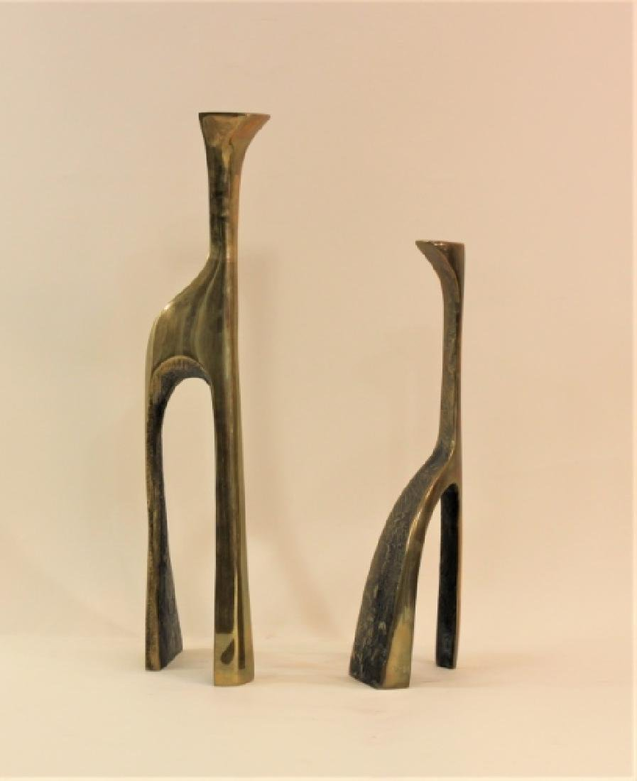 Pair Large Cubist Dali Brass Candle Holders - 6