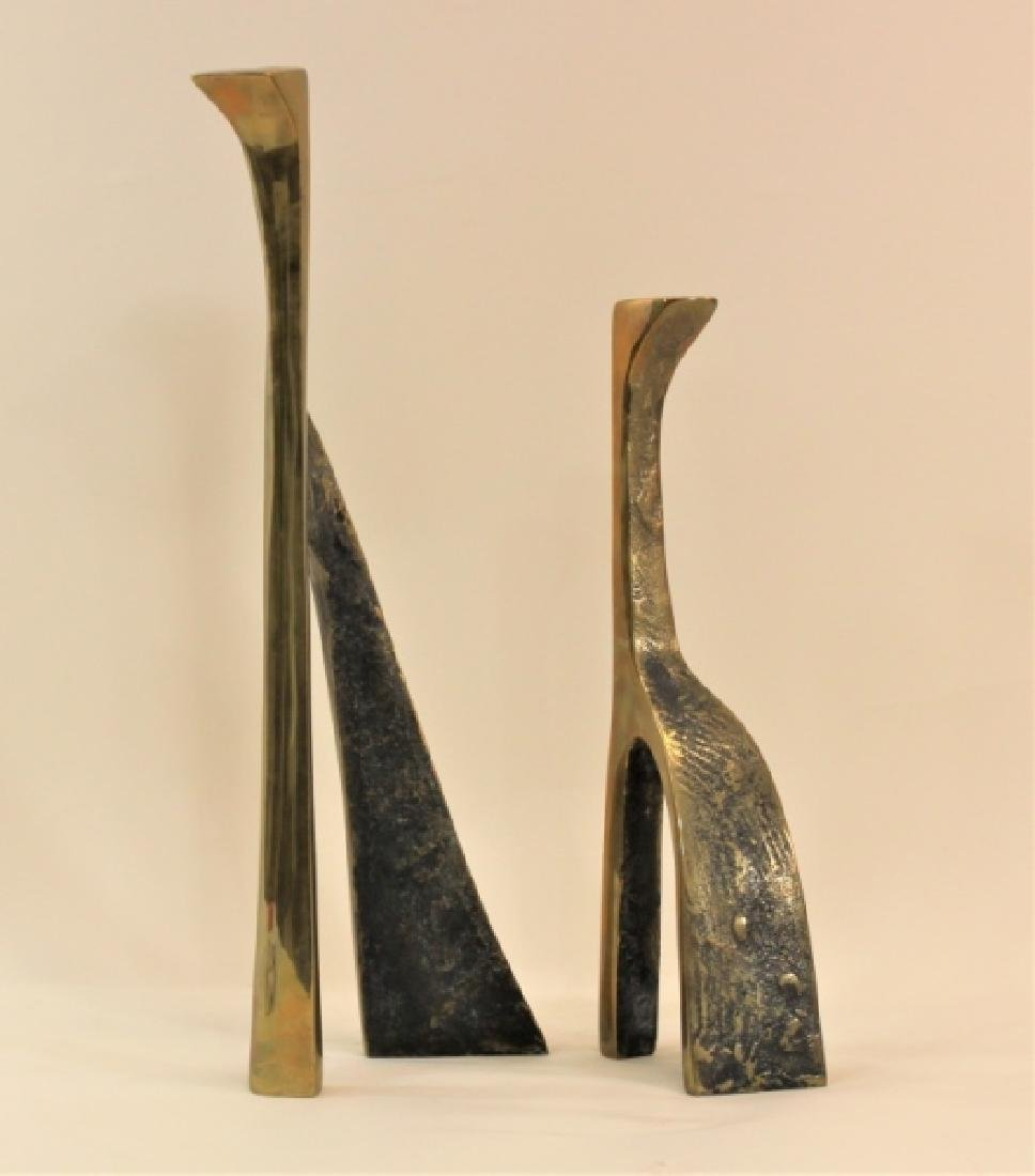 Pair Large Cubist Dali Brass Candle Holders - 7