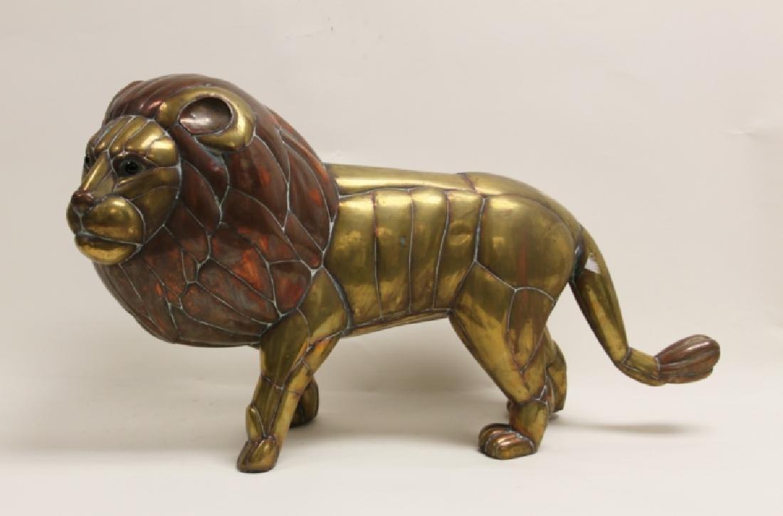 Sergio Bustamante Copper & Brass Lion Sculpture