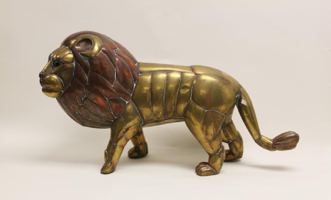 Sergio Bustamante Copper & Brass Lion Sculpture - 2