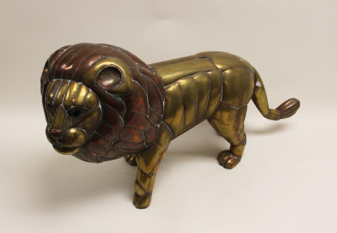 Sergio Bustamante Copper & Brass Lion Sculpture - 4