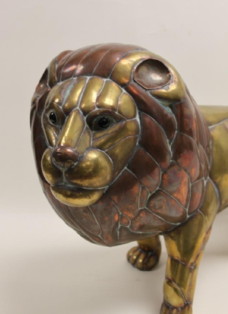 Sergio Bustamante Copper & Brass Lion Sculpture - 5