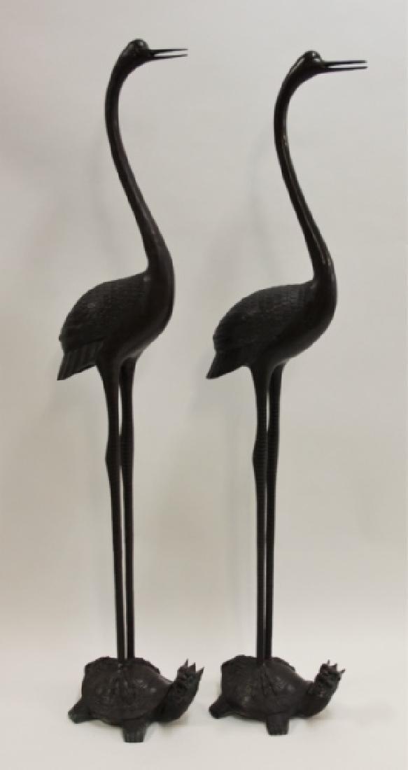 Pair Life Size Oriental Bronze Cranes w Turtles