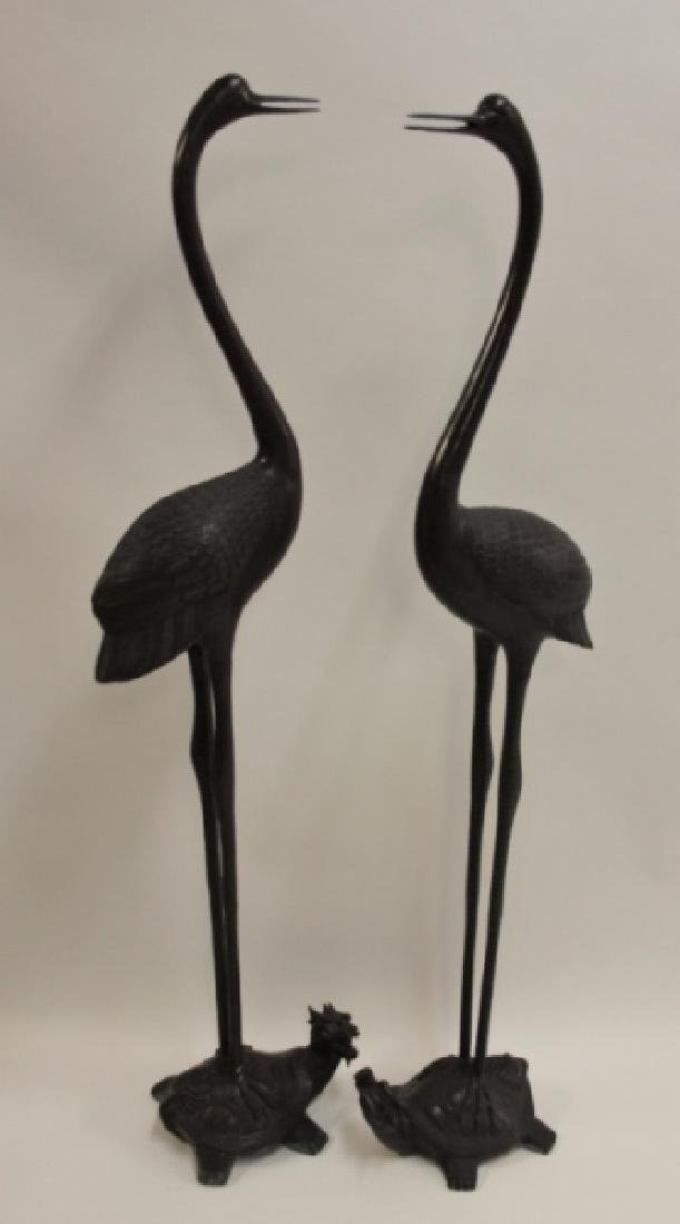 Pair Life Size Oriental Bronze Cranes w Turtles - 2