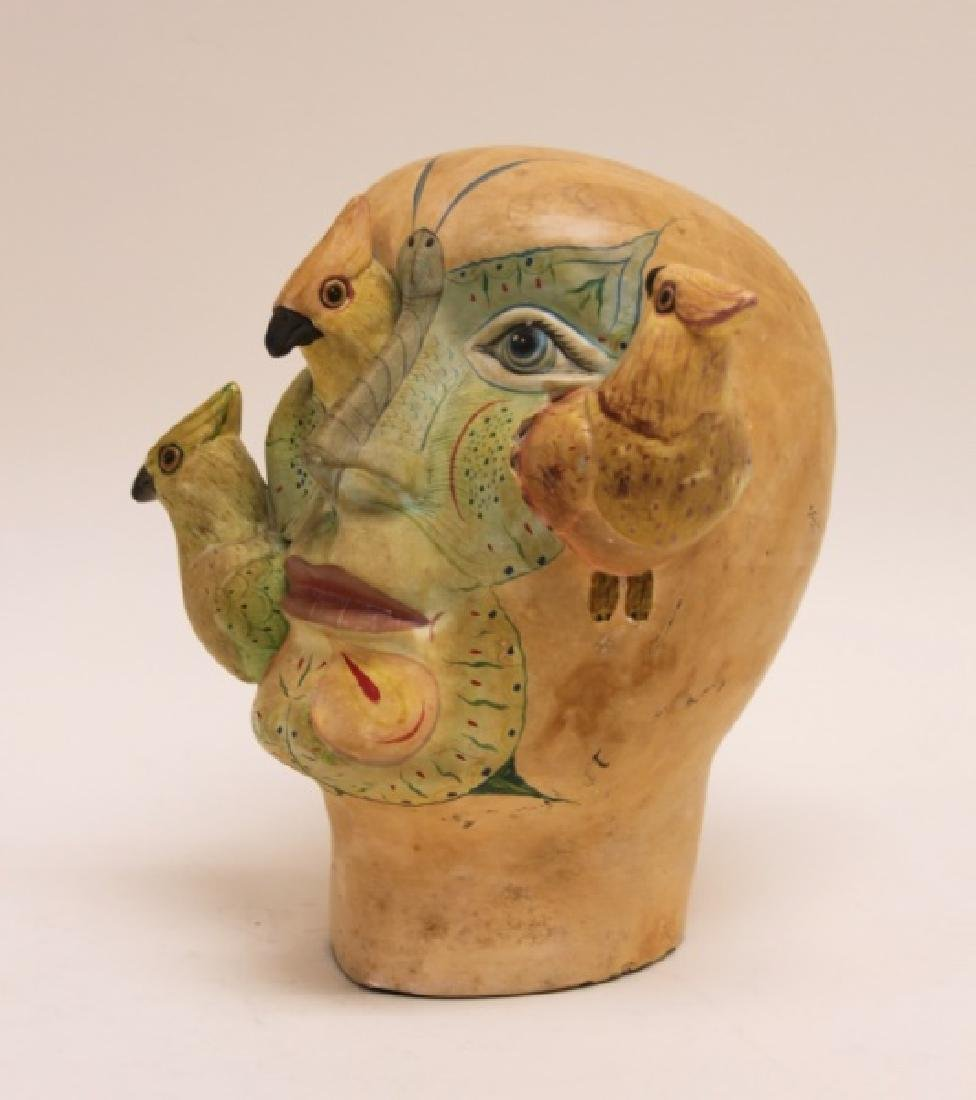Bustamante Painted Mexican Pottery Head w Birds