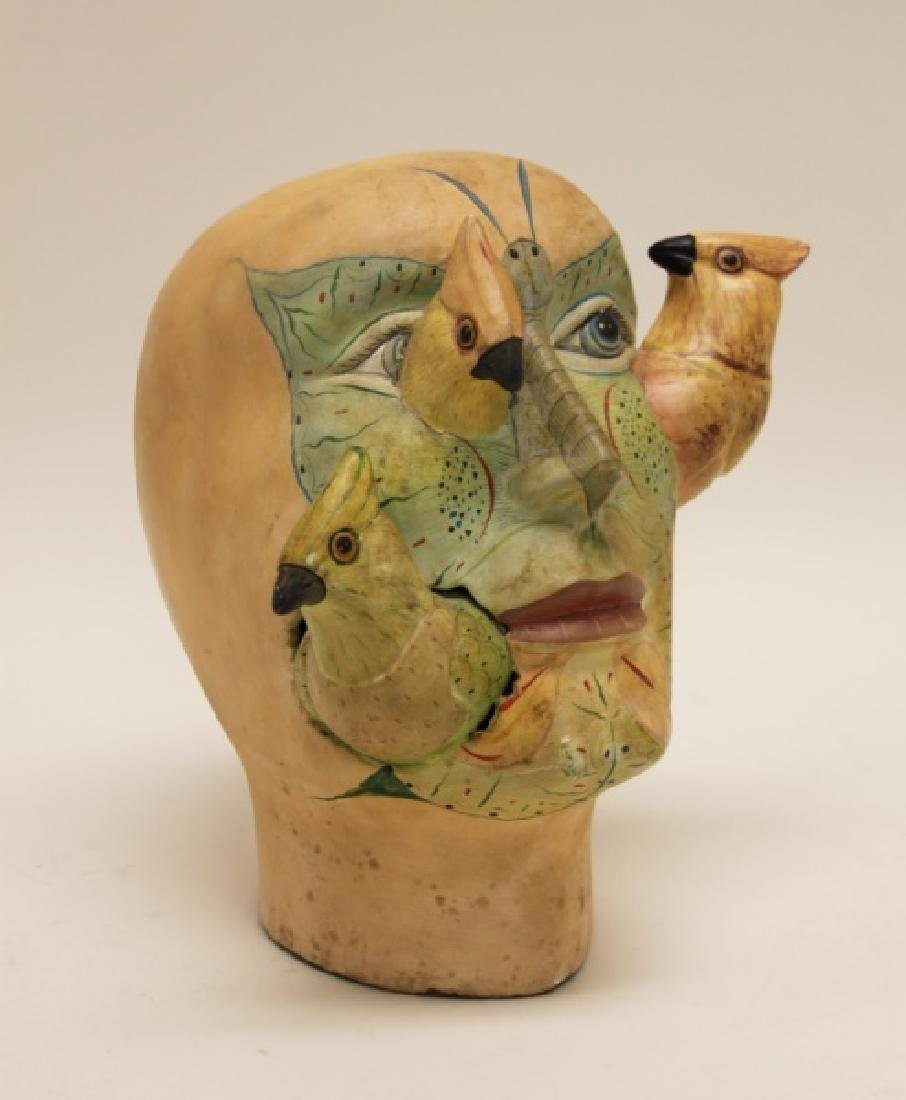 Bustamante Painted Mexican Pottery Head w Birds - 2