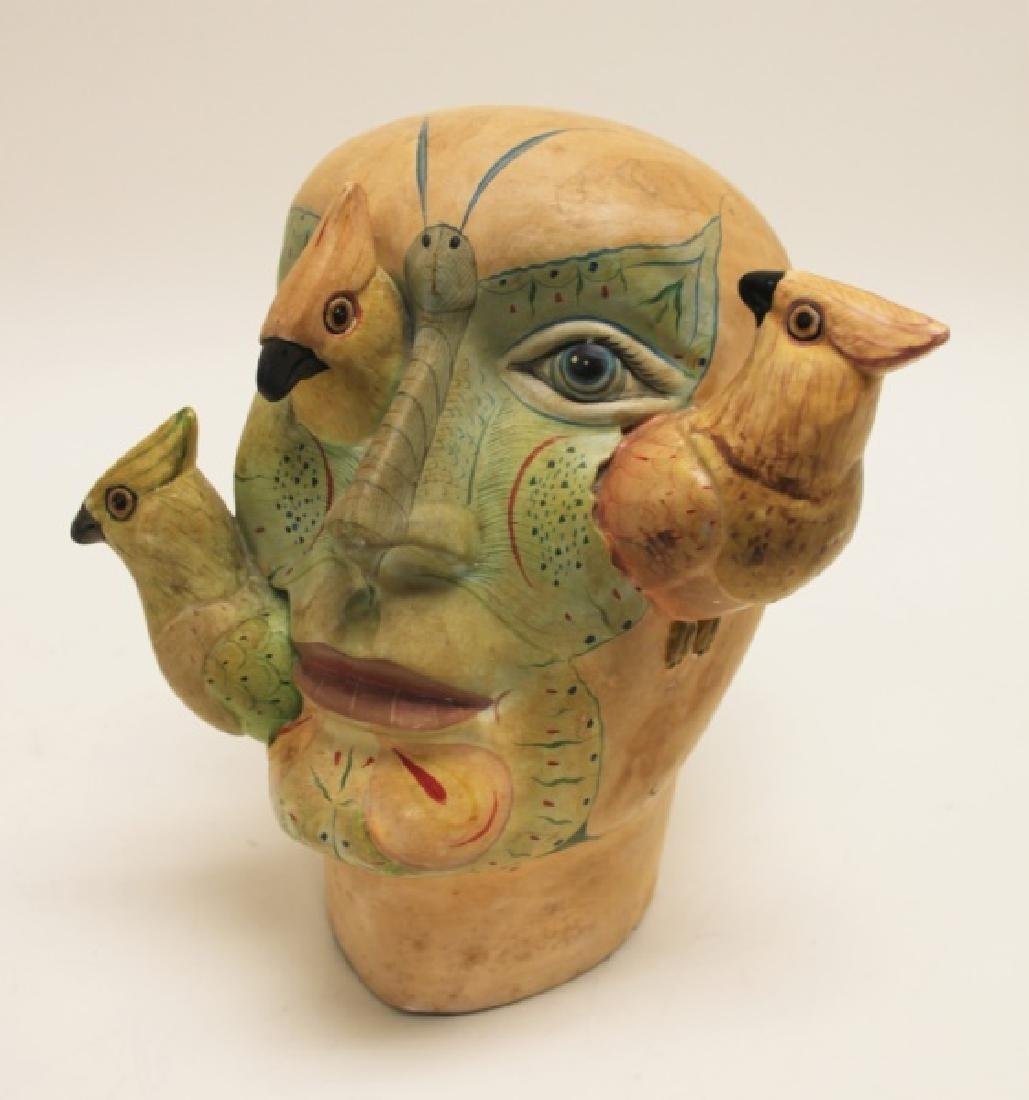 Bustamante Painted Mexican Pottery Head w Birds - 3