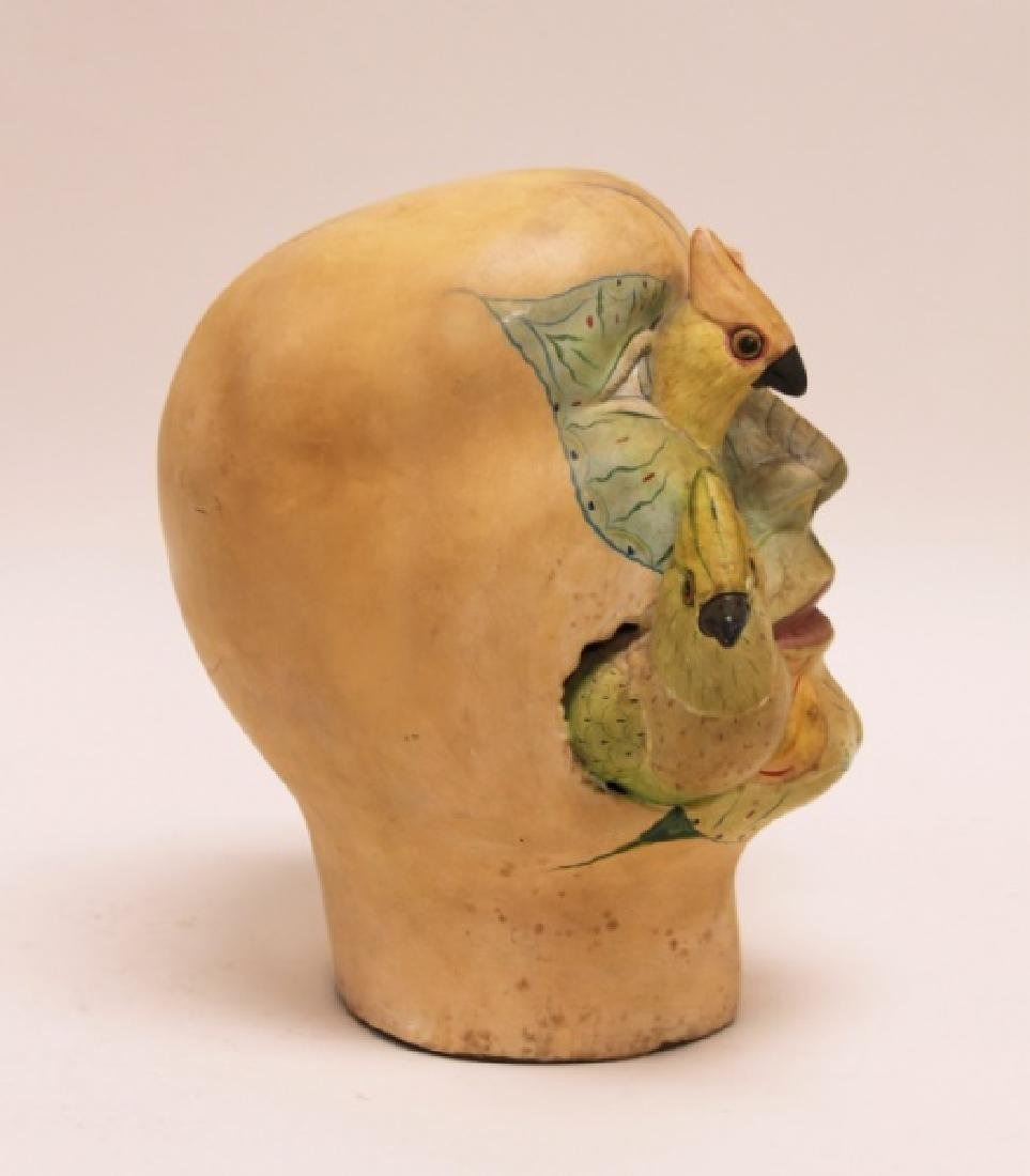 Bustamante Painted Mexican Pottery Head w Birds - 4