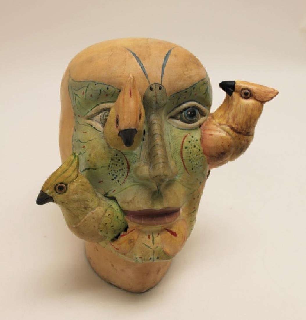 Bustamante Painted Mexican Pottery Head w Birds - 8