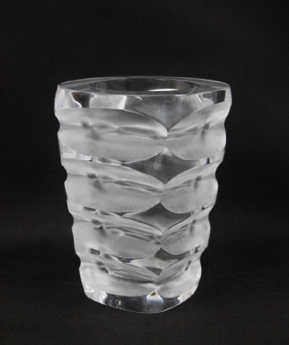 Lalique France Geometric Deep Cut Art Deco Vase