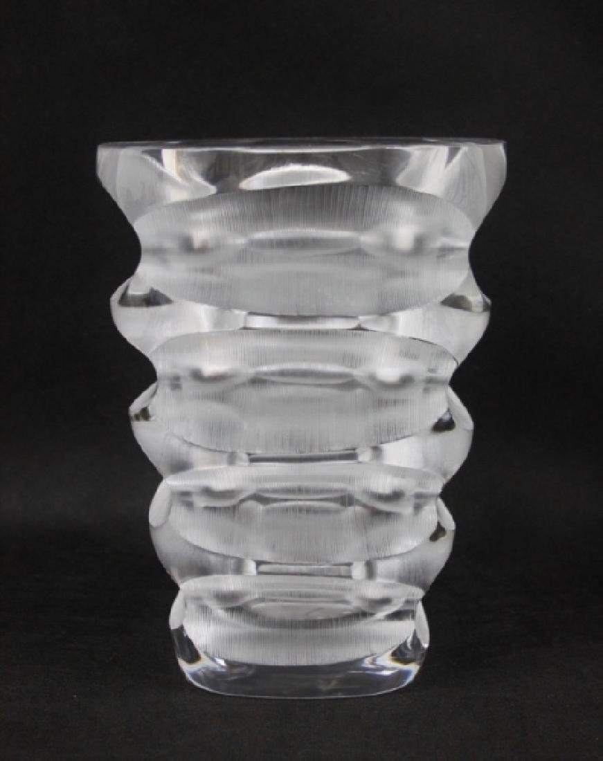 Lalique France Geometric Deep Cut Art Deco Vase - 2
