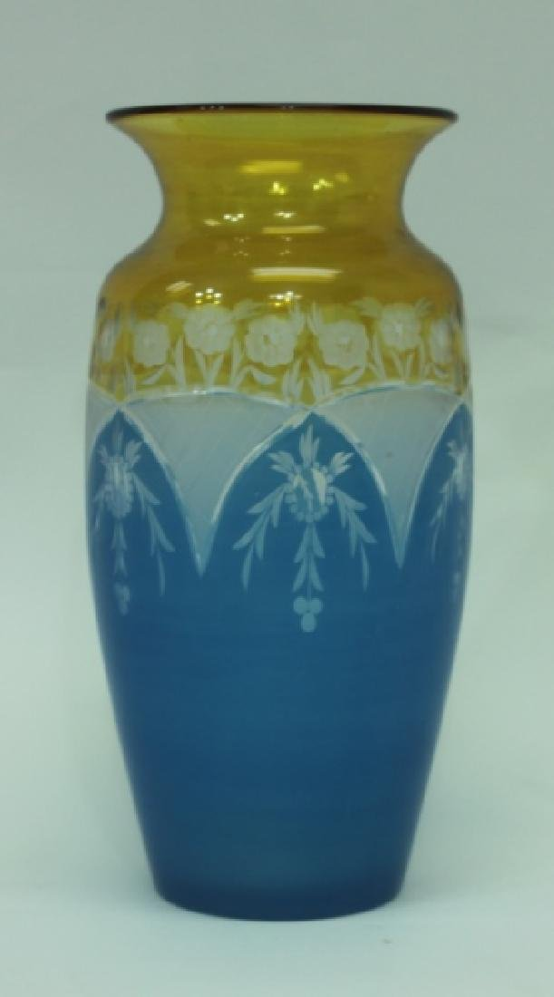 19C Cameo Cut Glass Vase w Blue to Amber & Clear