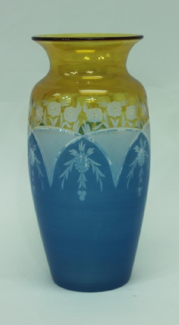 19C Cameo Cut Glass Vase w Blue to Amber & Clear - 2