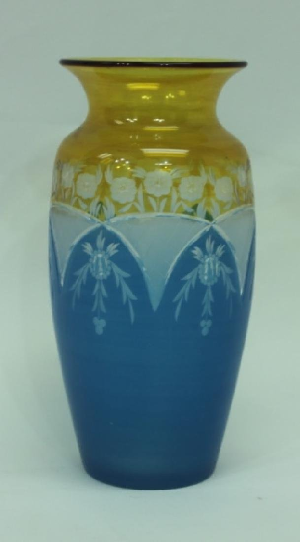 19C Cameo Cut Glass Vase w Blue to Amber & Clear - 3