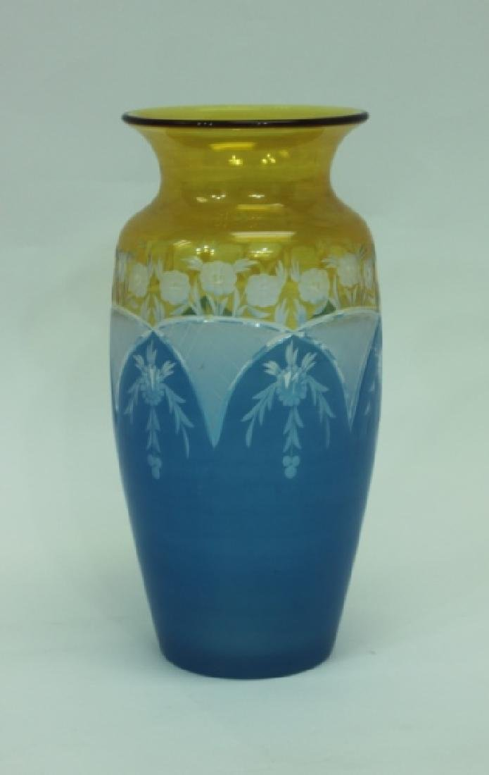 19C Cameo Cut Glass Vase w Blue to Amber & Clear - 4
