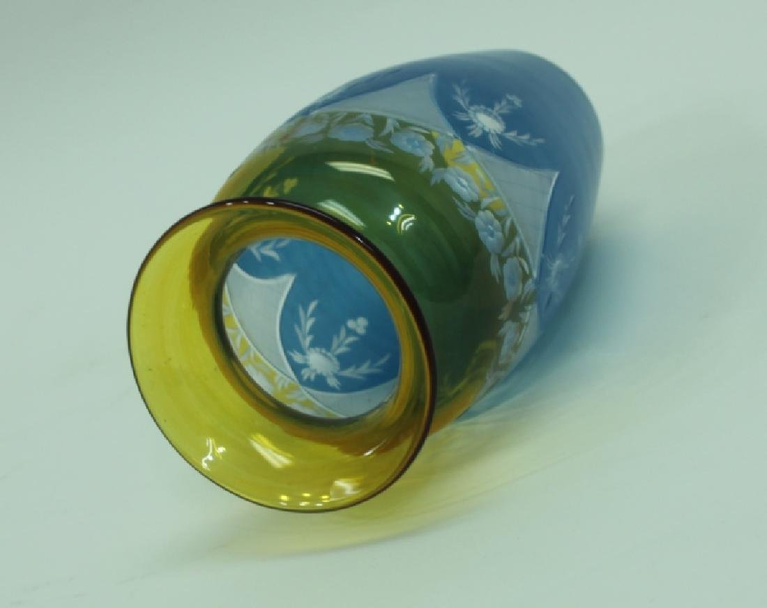 19C Cameo Cut Glass Vase w Blue to Amber & Clear - 5