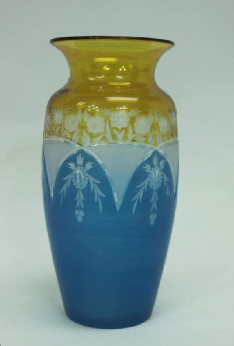 19C Cameo Cut Glass Vase w Blue to Amber & Clear - 8