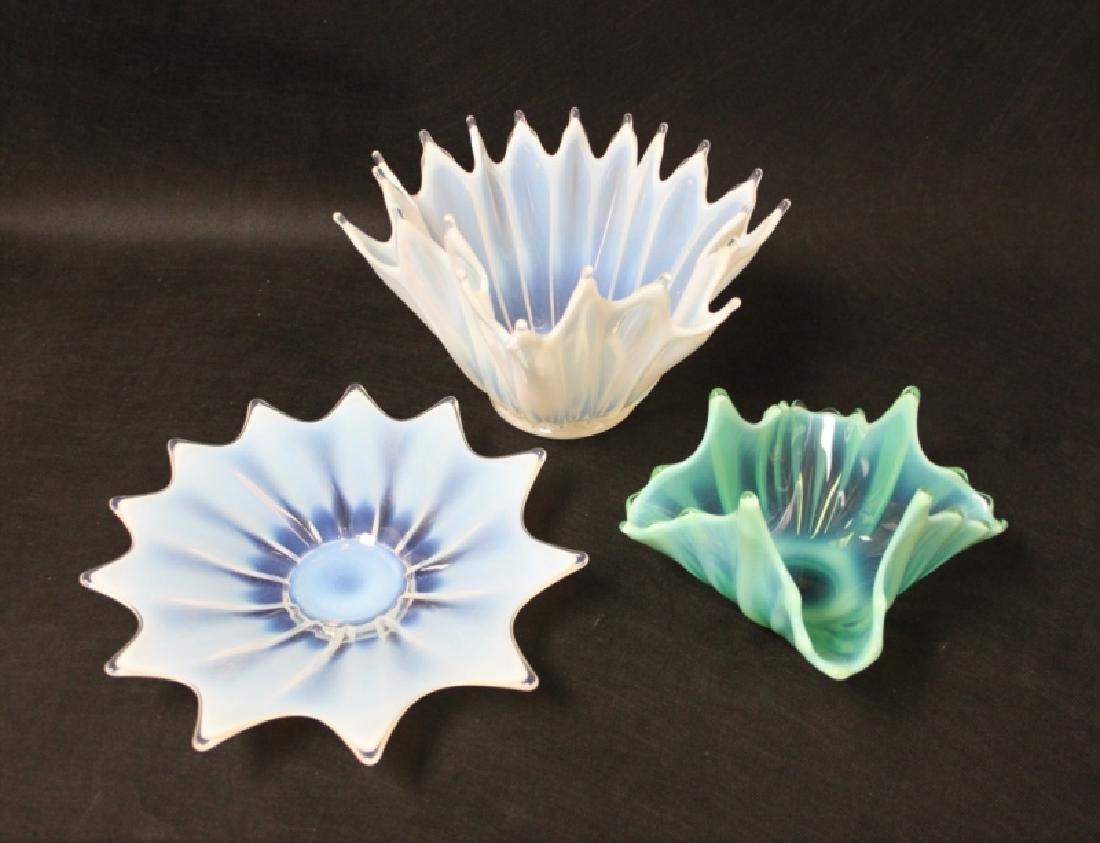 (3)Pcs French Art Deco Opaline Glass Bowls & Plate
