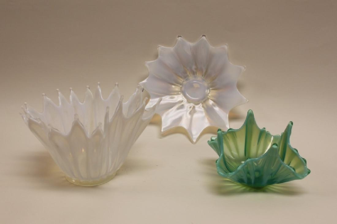 (3)Pcs French Art Deco Opaline Glass Bowls & Plate - 3