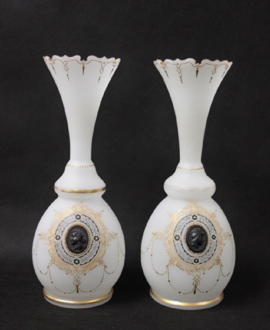 Pair 19C French Empire Opaline Glass Vases