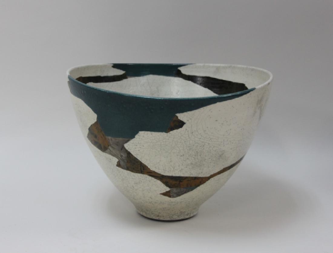1970's Wayne Higby Large Raku Art Pottery Bowl