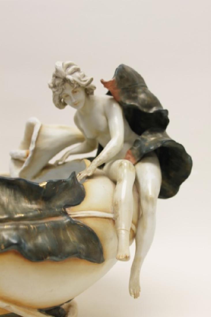German Art Nouveau Centerpiece Nudes & Lily Pond - 4