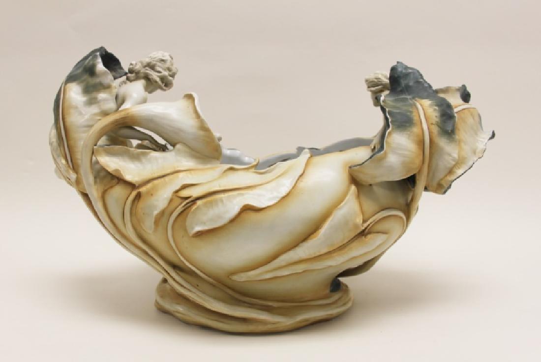 German Art Nouveau Centerpiece Nudes & Lily Pond - 6
