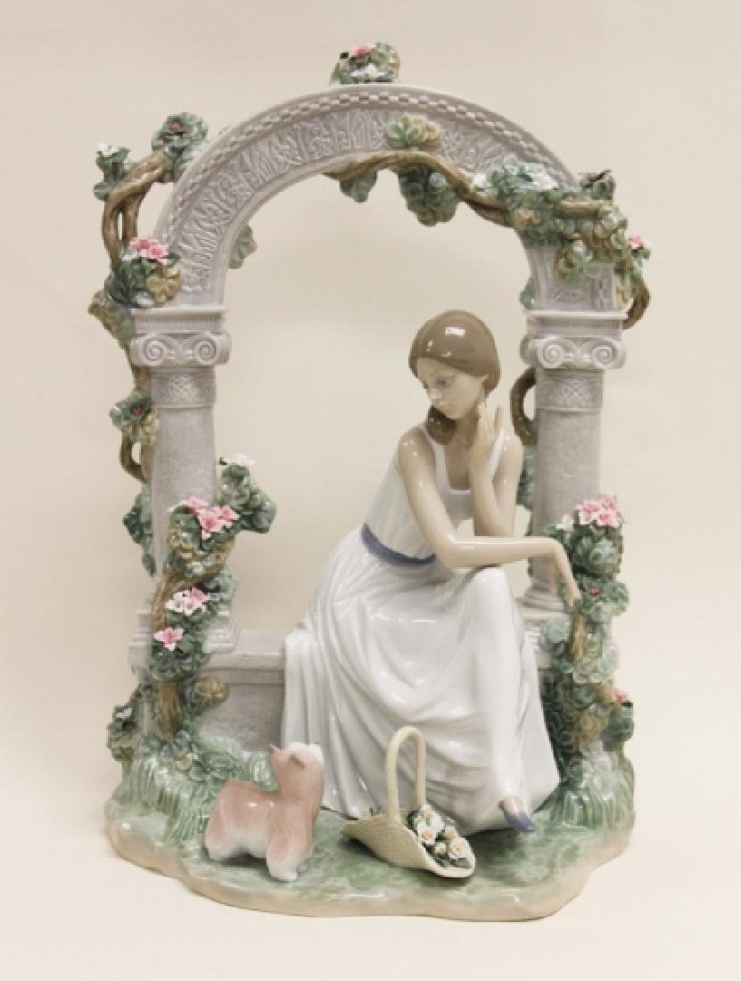 "Lladro #6677 ""Tranquility"" Young Woman Under Arbor"