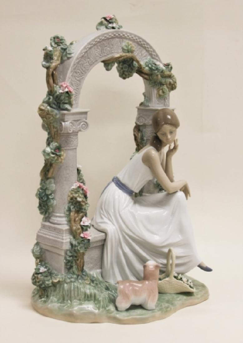 "Lladro #6677 ""Tranquility"" Young Woman Under Arbor - 3"