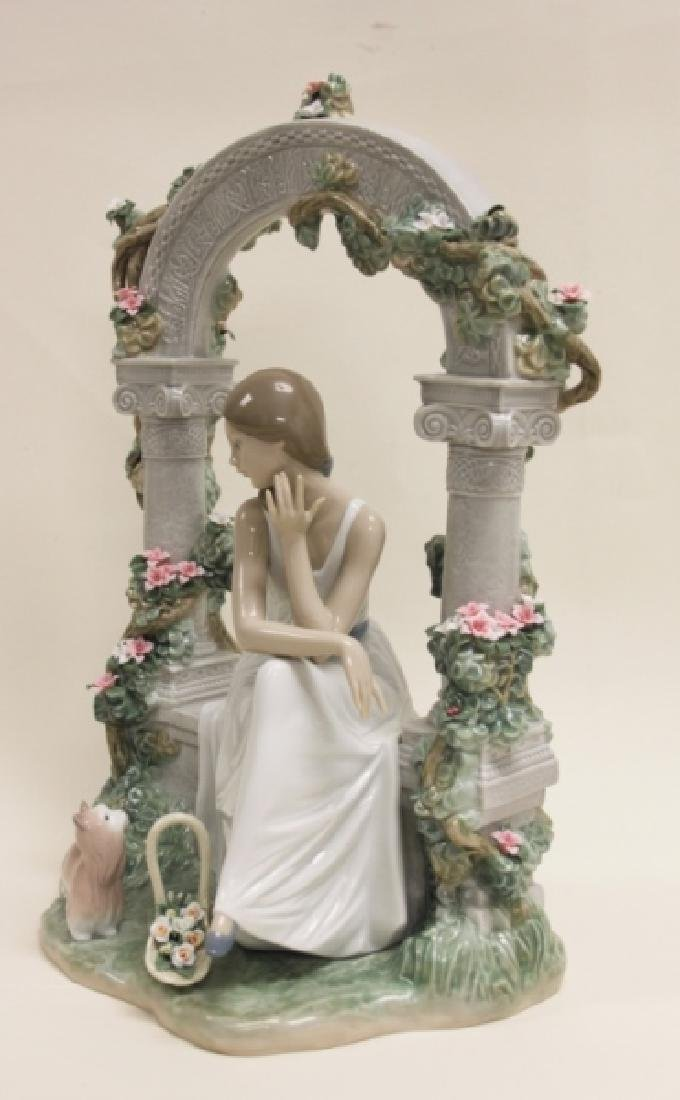 "Lladro #6677 ""Tranquility"" Young Woman Under Arbor - 5"