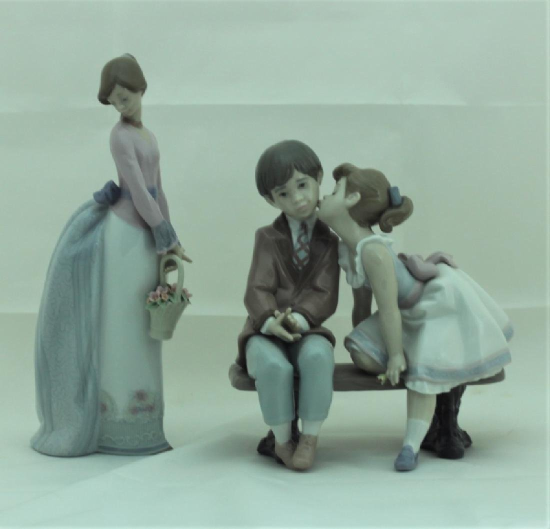 (2) Lladro Figures #7622 & #7635 Girls w Flowers